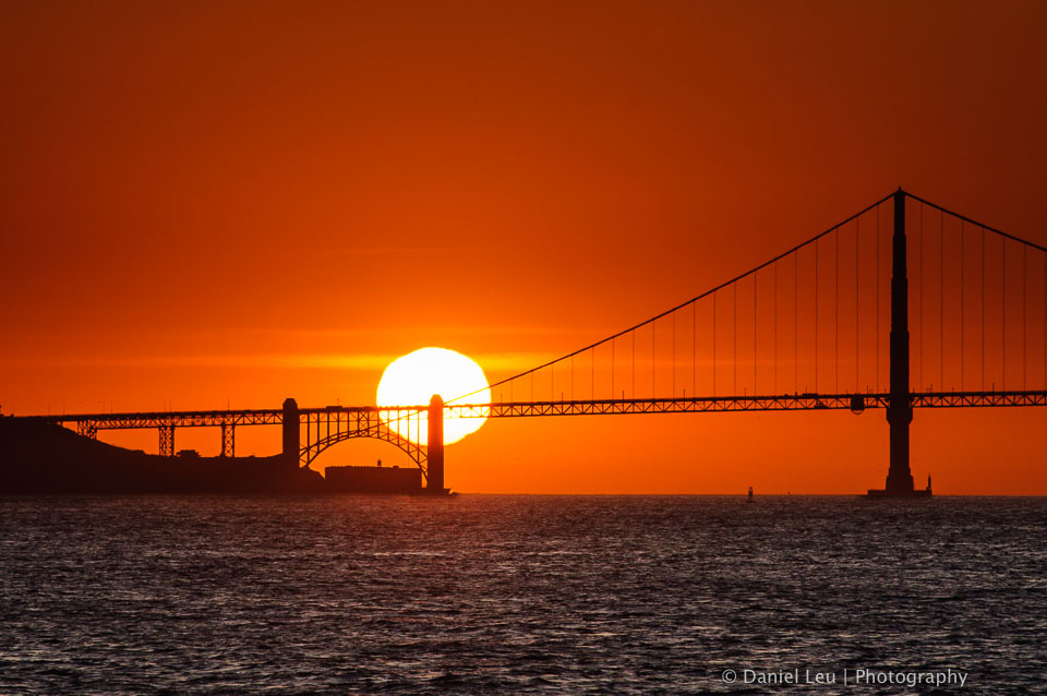 Golden Gate Bridge with Setting Sun