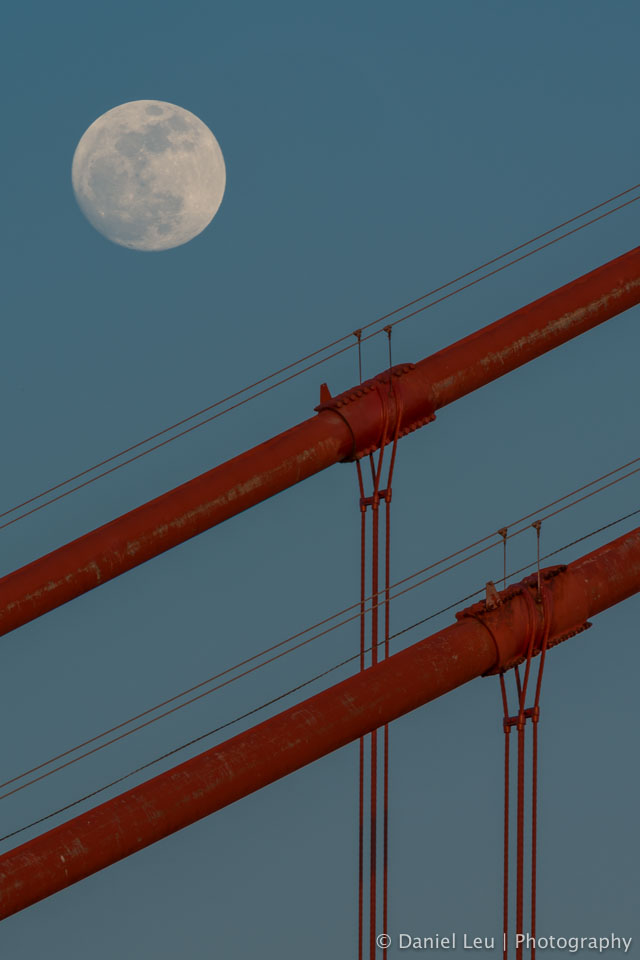 Full Moon with Golden Gate Bridge Cables