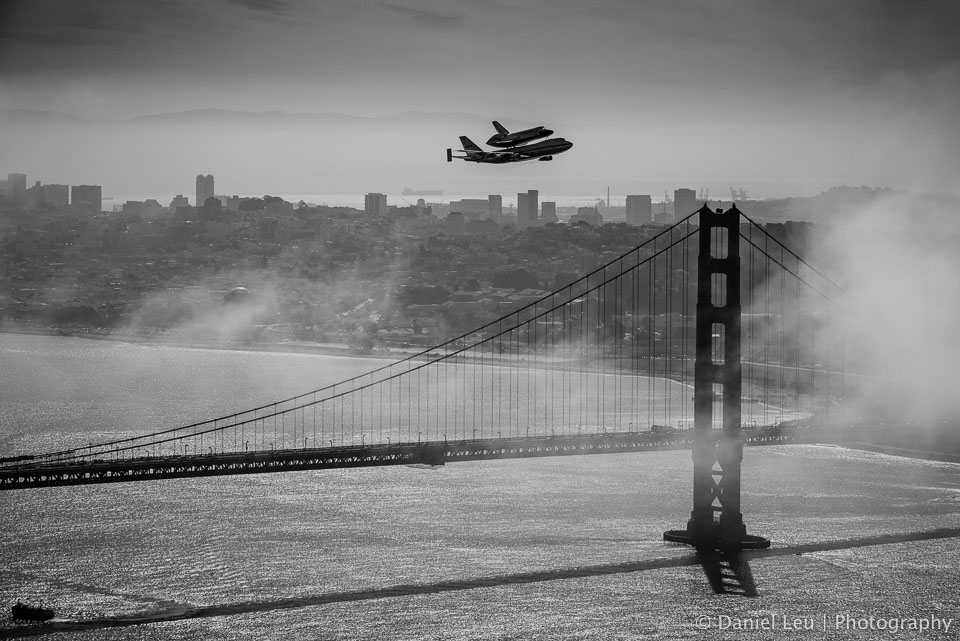 Space shuttle endeavour on top of the Shuttle Carrier Aircraft (SCA) over San Francisco on its way to retirement. 2011, San Francisco, California.  All rights reserved