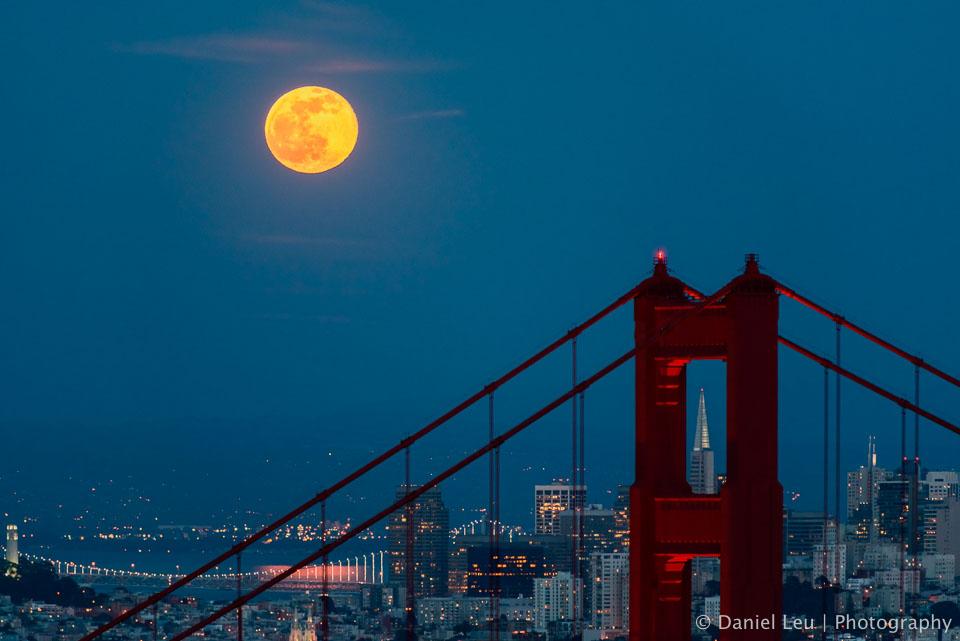Golden Gate Bridge framing Transamerica with Full Moon