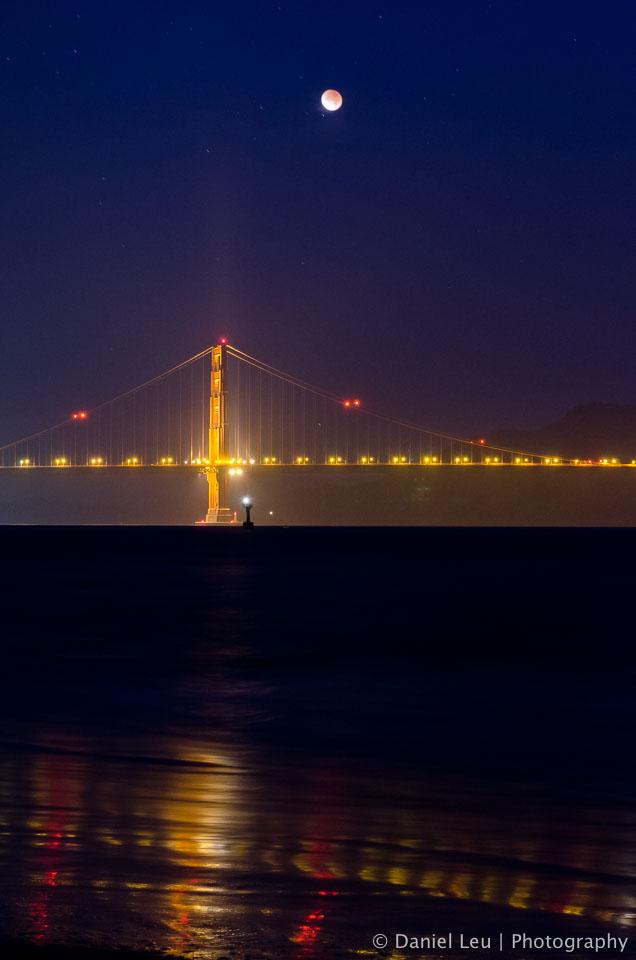 Lunar Eclipse over Golden Gate Bridge